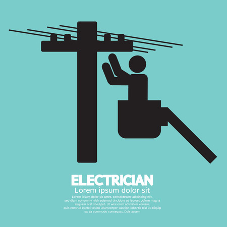 utility pole: Electrician Black Sign Vector Illustration