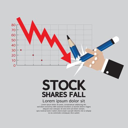 shares: Stock Shares Fall Vector Illustration  Illustration