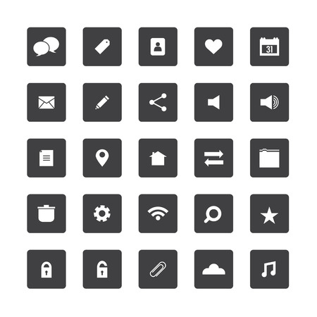 Square Website Vector Icons Set