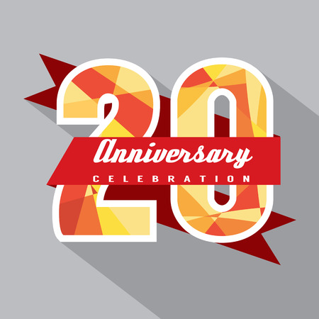 20 Years Anniversary Celebration Design Vector