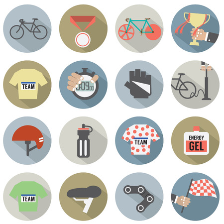 Set of Flat Design Bicycle and Accessories Icons Vector Illustration Vector