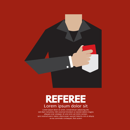 soccer referees hand with red card: Referee With Red Card Vector Illustration