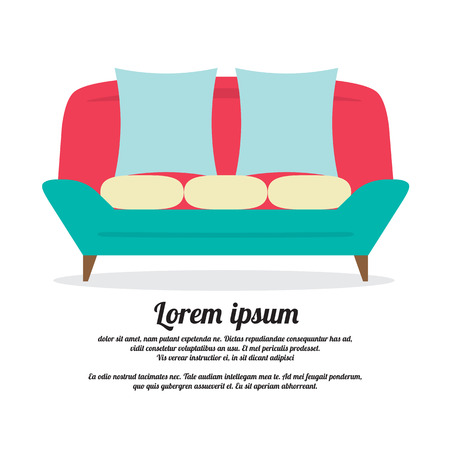 lounge room: Vintage Sofa Vector Illustration Illustration
