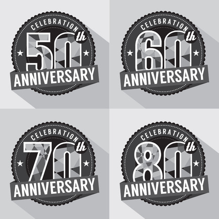 60 70: Set of Anniversary Celebration Design Illustration