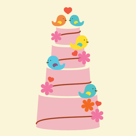 cake stand: Lovely Birds With Wedding Cake