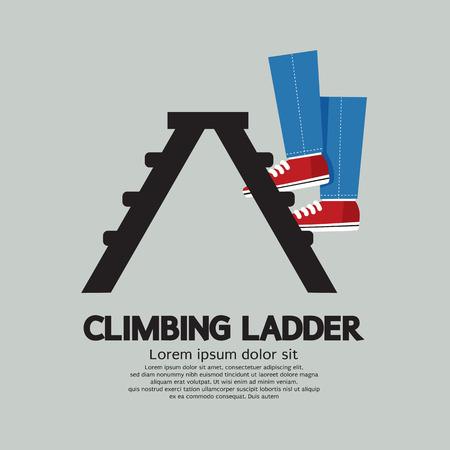 ladder of success: Legs Climbing Ladder Vector Illustration