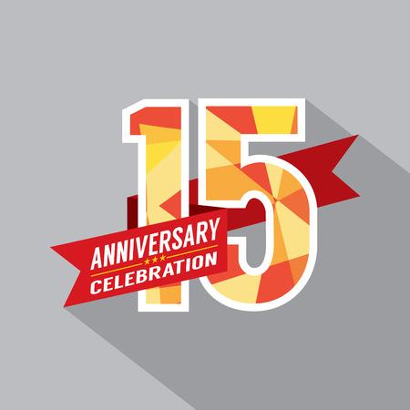 15 Years Anniversary Celebration Design Vettoriali