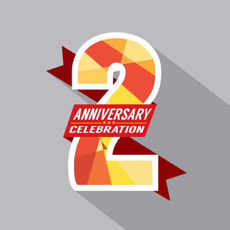 2th Years Anniversary Celebration Design Vector
