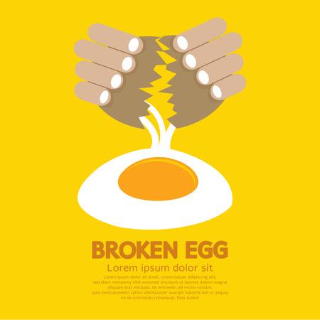 cracked egg: Broken Egg In Hand