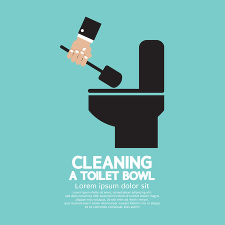 Cleaning a Toilet Bowl  Vector
