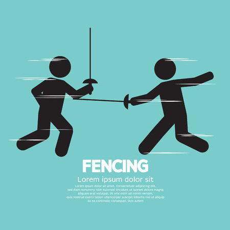 fencing: Fencing Sport Sign  Illustration