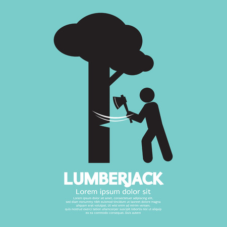 ax: Lumberjack With Axe Symbol Vector Illustration
