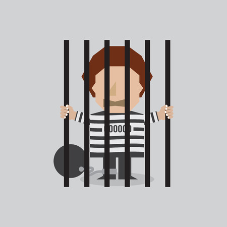confined: Prisoner In Jail Vector Illustration