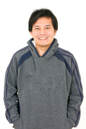 Asian Man Wearing Hoodshirt Isolated on White  photo