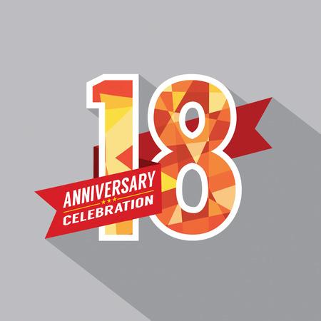 happy 18th birthday: 18th Years Anniversary Celebration Design