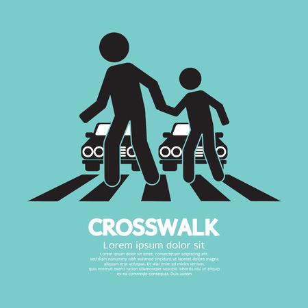 road safety: Crosswalk Graphic Sign Illustration