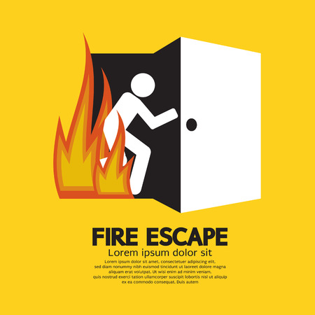Fire Escape Graphic Sign Illustration