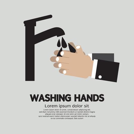 lavarse las manos: Lavarse las manos con el grifo Ilustración Vectores
