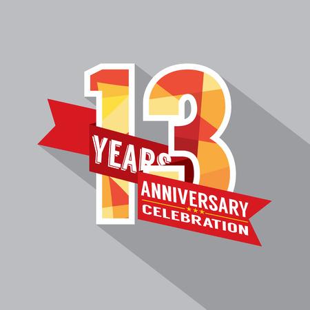 13th Years Anniversary Celebration Design Vector