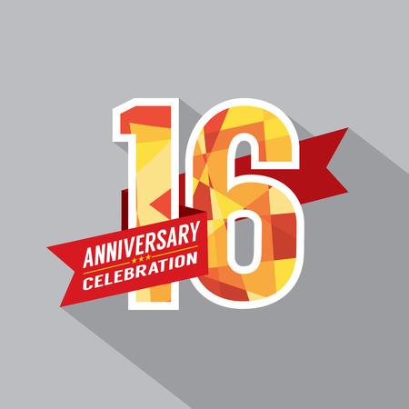 16th Years Anniversary Celebration Design Vector