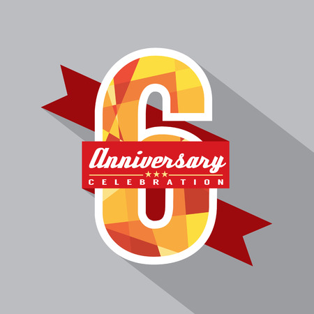 sixth birthday: 6th Years Anniversary Celebration Design Illustration