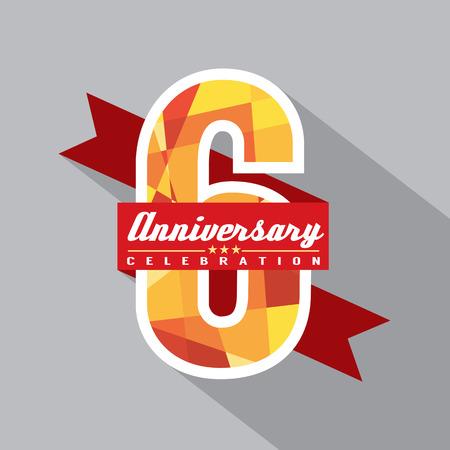 6th Years Anniversary Celebration Design Illustration