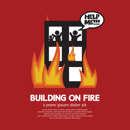 fire damage: Building On Fire Illustration