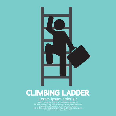 climbing ladder: Businessman Climbing Ladder Illustration