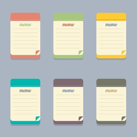 memo pad: Flat Design Colorful Memo Illustration