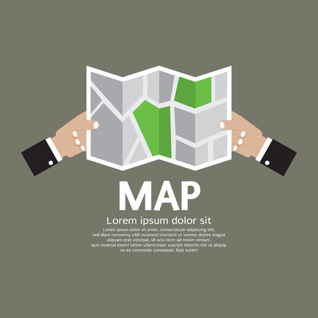 folded hands: Paper Map In Hand Illustration