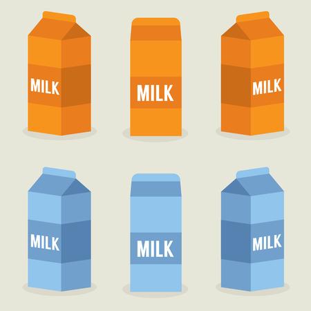 carton de leche: Milk Boxes Colección Ilustración Vectores