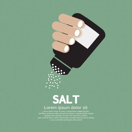 salt: Salt Bottle In Hand Illustration