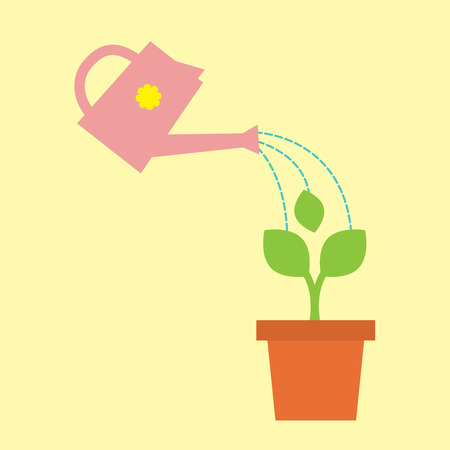 watering pot: Irrigazione Pot Con Little Tree Illustration