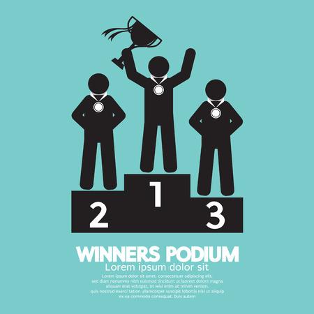 Winnaars Podium Symbool Illustratie
