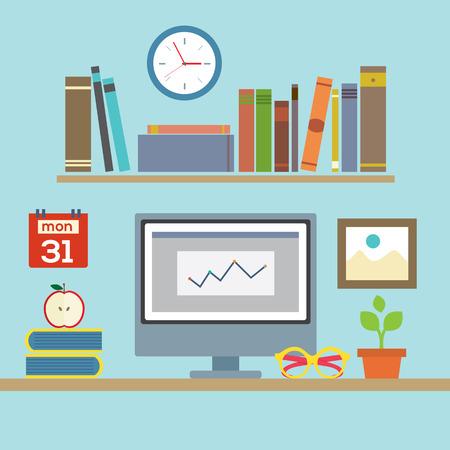 Flat Design Workplace Illustration Vector