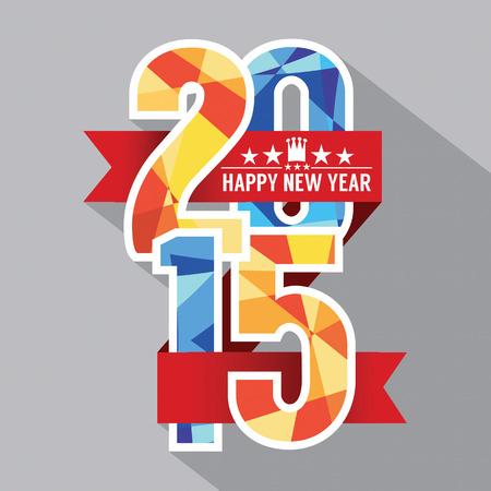 nieuwjaar: 2015 Label Illustratie van het Kenteken Stock Illustratie