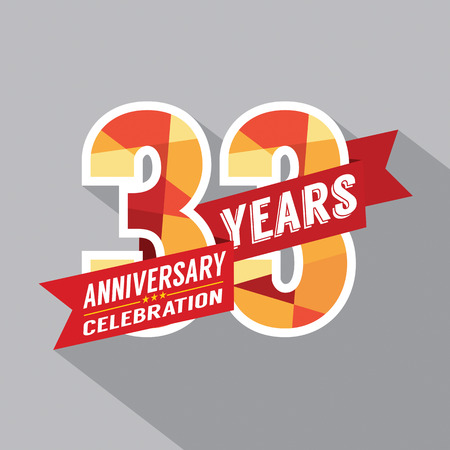 third birthday: 33rd Years Anniversary Celebration Design Illustration