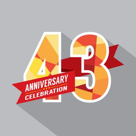 third birthday: 43rd Years Anniversary Celebration Design