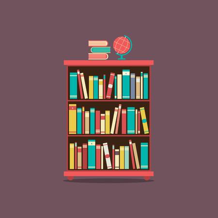 Flat Design Book Cabinet Illustration Vector