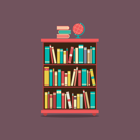 Flat Design Book Cabinet Illustration Illustration