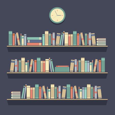 Flat Design Bookshelves Illustration