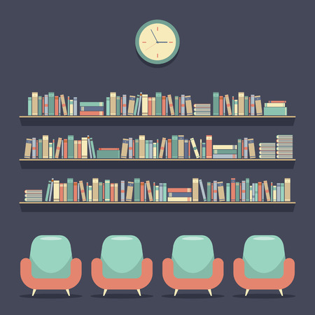 Flat Design Reading Seats and Bookshelves Illustration Vector