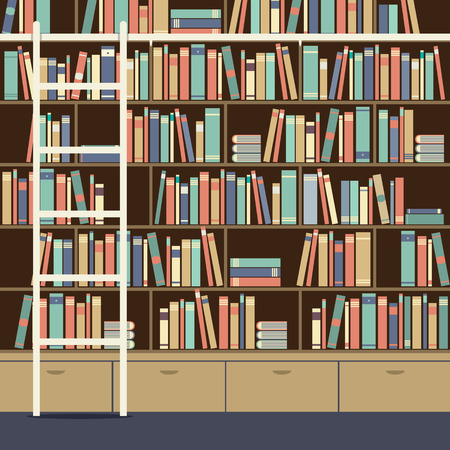 bookcases: Bookcase With Ladder Illustration Illustration