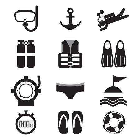 snorkel: Diving Icon Set Illustration Illustration