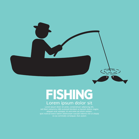 catching: Fishing Graphic Sign Illustration