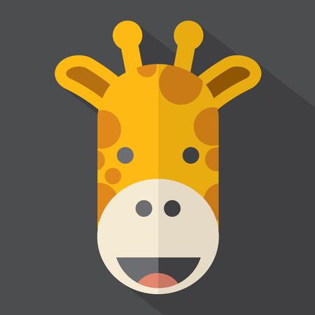giraffe cartoon: Piso Dise�o Icono de la jirafa moderna Ilustraci�n Vectores