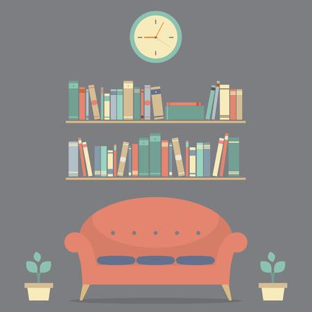 Modern Design Interior Sofa And Bookshelves  Vector