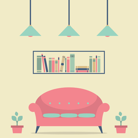 living space: Modern Design Interior Chair and Bookshelf Illustration