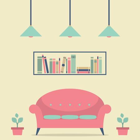 Modern Design Interior Chair and Bookshelf Illustration