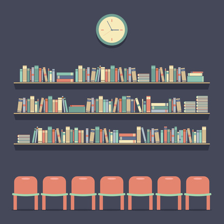 Flat Design Reading Seats and Bookshelves Illustration